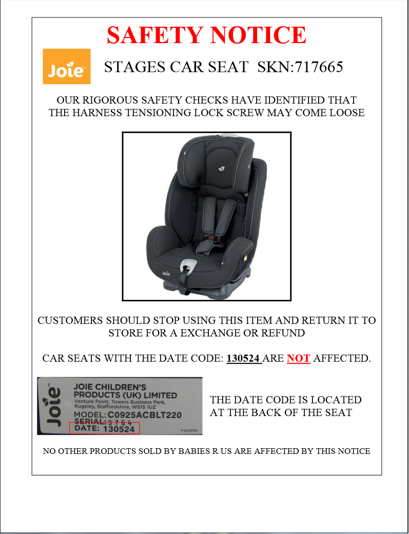 Recall Announcement Joie Stages Midnight Not Current A Rear