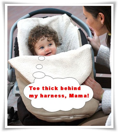 anti bundle me too thick behind my harness CAR SEAT PONCHO - Safety People Frown Upon Bundle Me in Car Seats